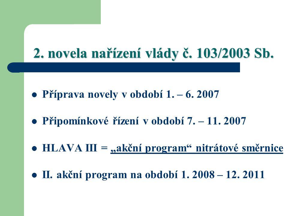 """2. novela nařízení vlády č. 103/2003 Sb. Příprava novely v období 1. – 6. 2007 Připomínkové řízení v období 7. – 11. 2007 HLAVA III = """"akční program"""""""