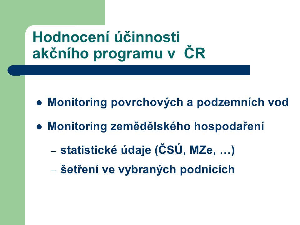 Hodnocení účinnosti akčního programu v ČR Monitoring povrchových a podzemních vod Monitoring zemědělského hospodaření – statistické údaje (ČSÚ, MZe, …