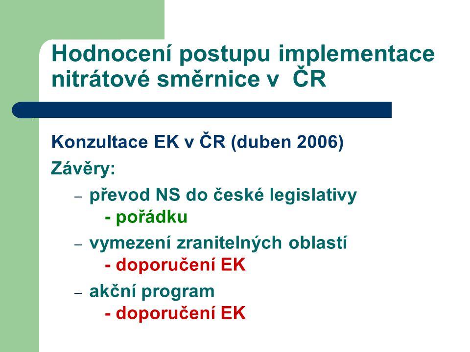Hodnocení postupu implementace nitrátové směrnice v ČR Konzultace EK v ČR (duben 2006) Závěry: – převod NS do české legislativy - pořádku – vymezení z