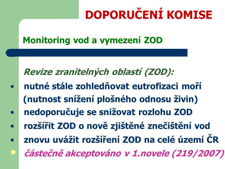 DOPORUČENÍ KOMISE Monitoring vod a vymezení ZOD Revize zranitelných oblastí (ZOD): nutné stále zohledňovat eutrofizaci moří (nutnost snížení plošného