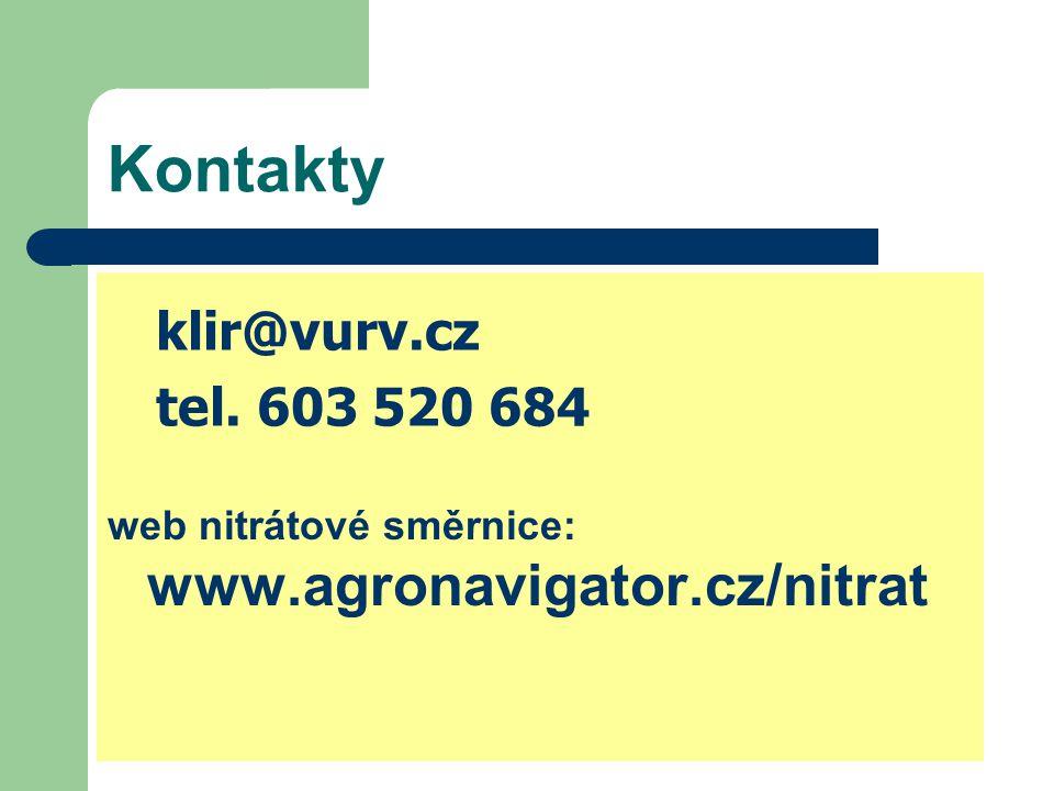 Kontakty web nitrátové směrnice: www.agronavigator.cz/nitrat klir@vurv.cz tel. 603 520 684