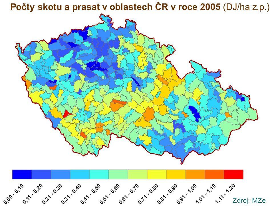 Zdroj: MZe Počty skotu a prasat v oblastech ČR v roce 2005 (DJ/ha z.p.)