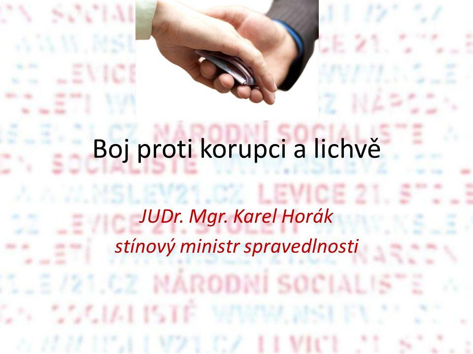 Boj proti korupci a lichvě JUDr. Mgr. Karel Horák stínový ministr spravedlnosti