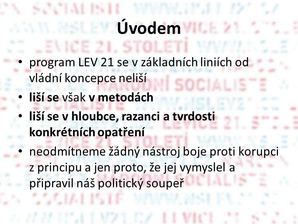 Úvodem program LEV 21 se v základních liniích od vládní koncepce neliší liší se však v metodách liší se v hloubce, razanci a tvrdosti konkrétních opat