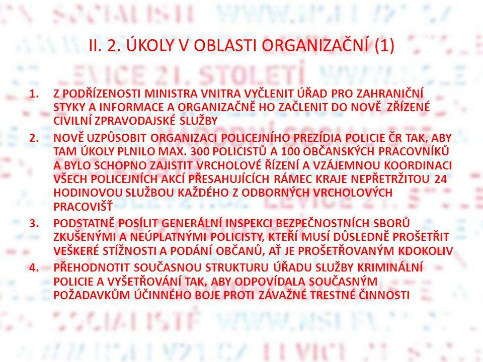 II. 2. ÚKOLY V OBLASTI ORGANIZAČNÍ (1) 1.Z PODŘÍZENOSTI MINISTRA VNITRA VYČLENIT ÚŘAD PRO ZAHRANIČNÍ STYKY A INFORMACE A ORGANIZAČNĚ HO ZAČLENIT DO NO