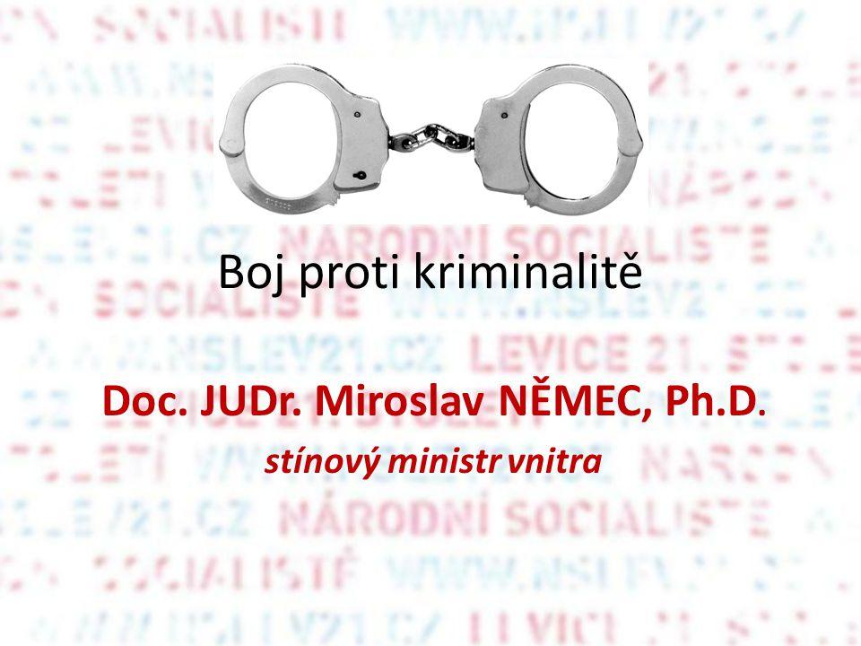 Boj proti kriminalitě Doc. JUDr. Miroslav NĚMEC, Ph.D. stínový ministr vnitra