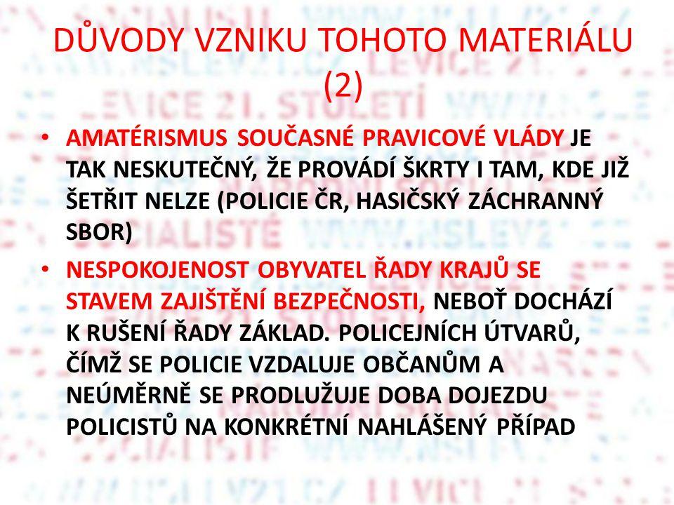 DŮVODY VZNIKU TOHOTO MATERIÁLU (2) AMATÉRISMUS SOUČASNÉ PRAVICOVÉ VLÁDY JE TAK NESKUTEČNÝ, ŽE PROVÁDÍ ŠKRTY I TAM, KDE JIŽ ŠETŘIT NELZE (POLICIE ČR, H
