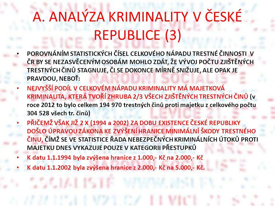 A. ANALÝZA KRIMINALITY V ČESKÉ REPUBLICE (3) POROVNÁNÍM STATISTICKÝCH ČÍSEL CELKOVÉHO NÁPADU TRESTNÉ ČINNOSTI V ČR BY SE NEZASVĚCENÝM OSOBÁM MOHLO ZDÁ