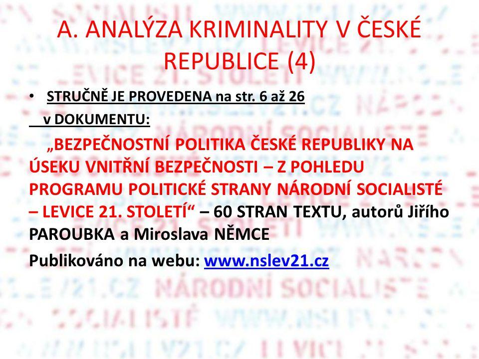 """A. ANALÝZA KRIMINALITY V ČESKÉ REPUBLICE (4) STRUČNĚ JE PROVEDENA na str. 6 až 26 v DOKUMENTU: """" BEZPEČNOSTNÍ POLITIKA ČESKÉ REPUBLIKY NA ÚSEKU VNITŘN"""