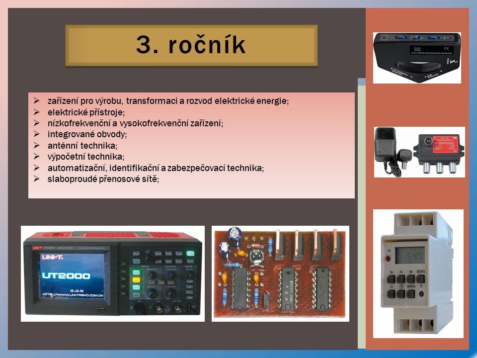 3. ročník  zařízení pro výrobu, transformaci a rozvod elektrické energie;  elektrické přístroje;  nízkofrekvenční a vysokofrekvenční zařízení;  in