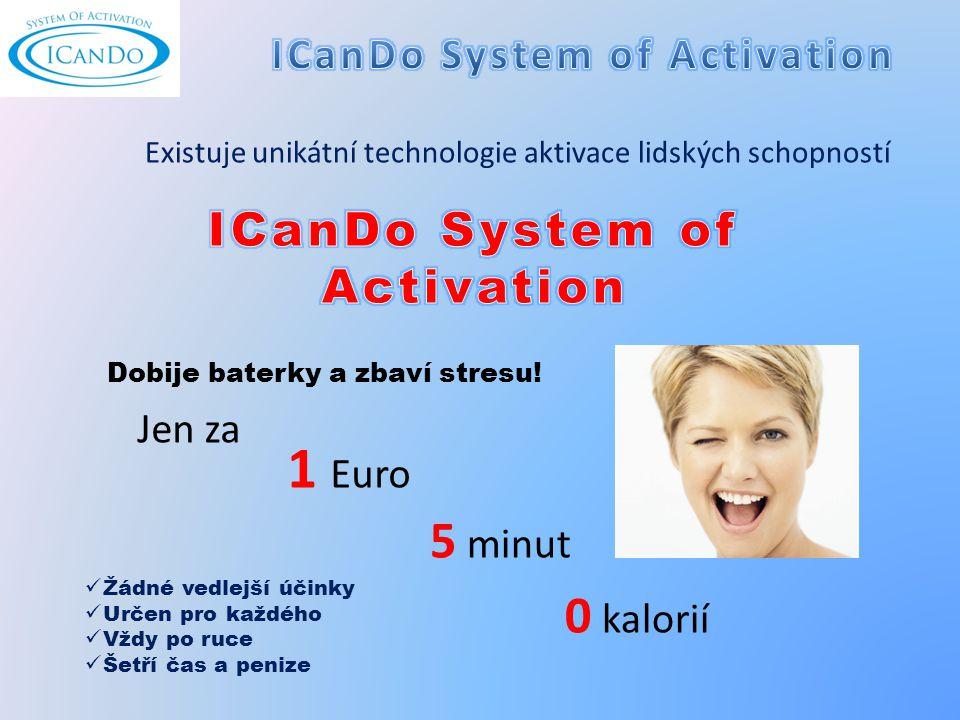 1 Euro 5 minut 0 kalorií Žádné vedlejší účinky Určen pro každého Vždy po ruce Šetří čas a penize Jen za Dobije baterky a zbaví stresu.