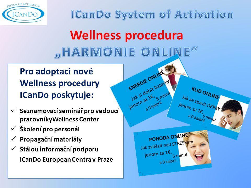 Pro adoptaci nové Wellness procedury ICanDo poskytuje: Seznamovací seminář pro vedoucí pracovníkyWellness Center Školení pro personál Propagační materiály Stálou informační podporu ICanDo European Centra v Praze