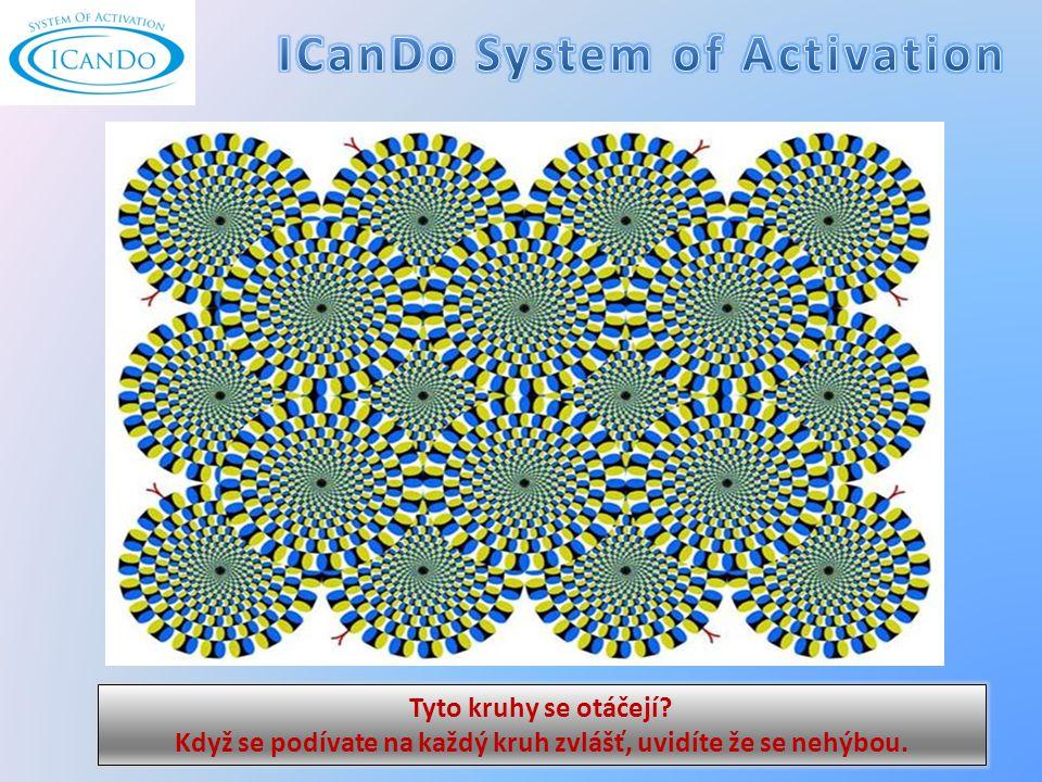 Tyto kruhy se otáčejí Když se podívate na každý kruh zvlášť, uvidíte že se nehýbou.