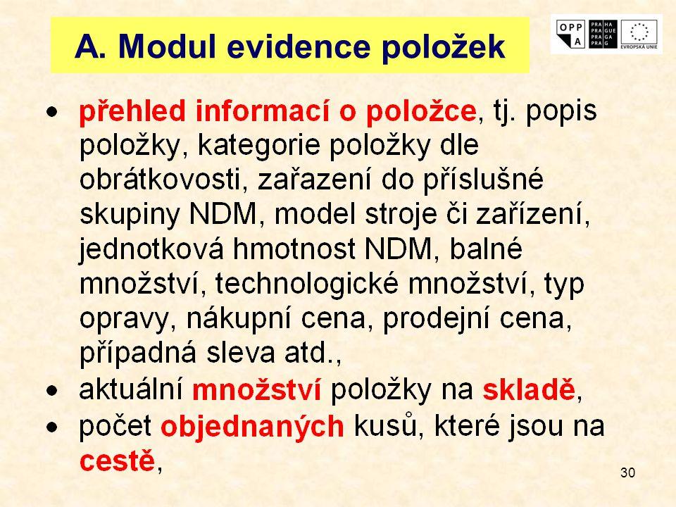 30 A. Modul evidence položek