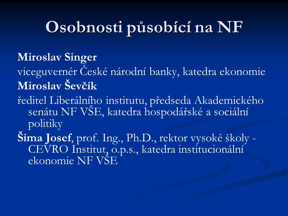 Osobnosti působící na NF Miroslav Singer viceguvernér České národní banky, katedra ekonomie Miroslav Ševčík ředitel Liberálního institutu, předseda Ak