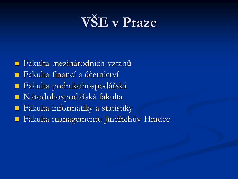 VŠE v Praze Fakulta mezinárodních vztahů Fakulta mezinárodních vztahů Fakulta financí a účetnictví Fakulta financí a účetnictví Fakulta podnikohospodá