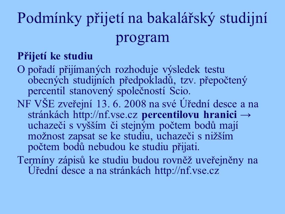 Podmínky přijetí na bakalářský studijní program Přijetí ke studiu O pořadí přijímaných rozhoduje výsledek testu obecných studijních předpokladů, tzv.