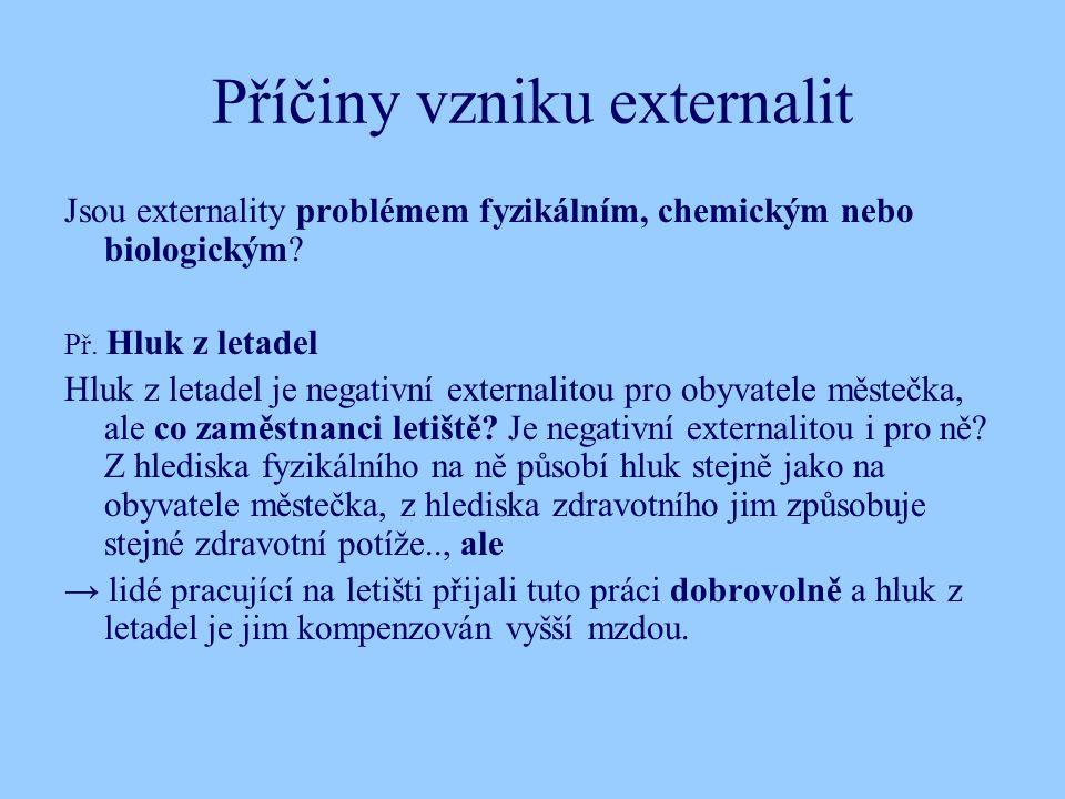 Příčiny vzniku externalit Jsou externality problémem fyzikálním, chemickým nebo biologickým.