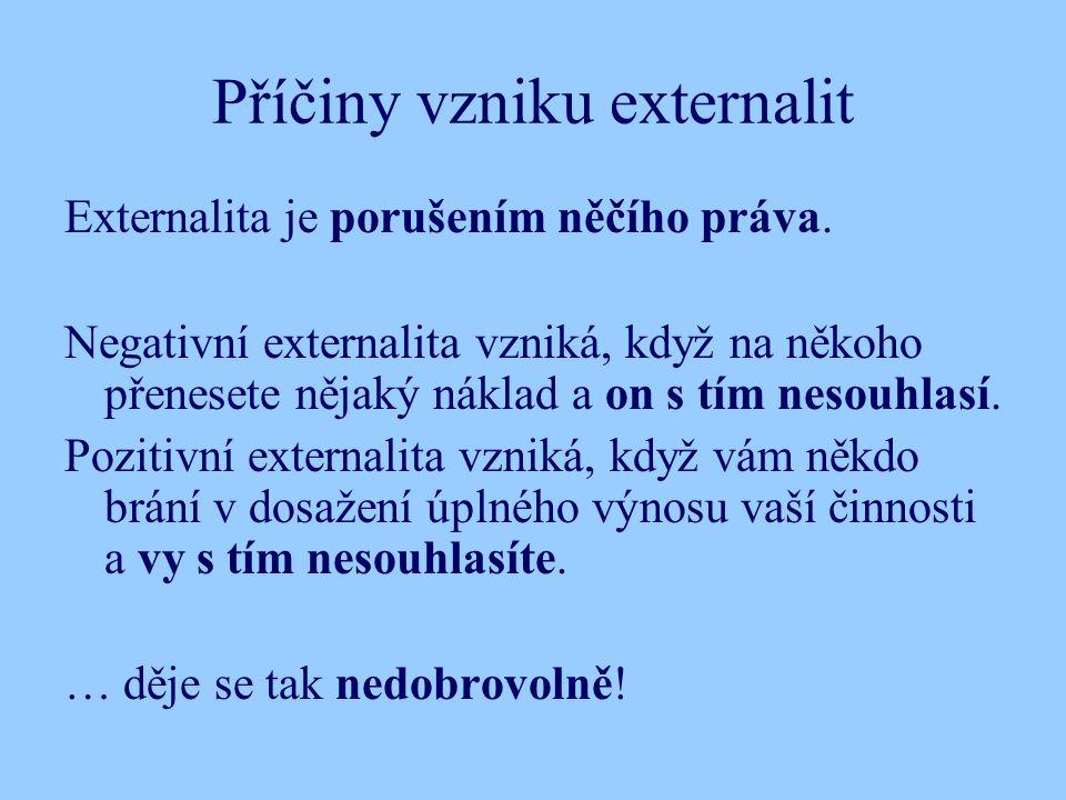 Příčiny vzniku externalit Externalita je porušením něčího práva.