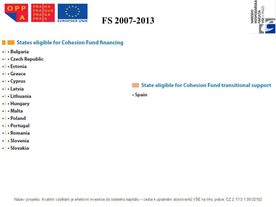 FS 2007-2013 Zdroj: http://ec.europa.eu/regional_policy/sources/docoffi c/official/regulation/pdf/2007/publications/guide2 007_en.pdf Název projektu: Kvalitní vzdělání je efektivní investice do lidského kapitálu – cesta k uplatnění absolventů VŠE na trhu práce; CZ.2.17/3.1.00/32102