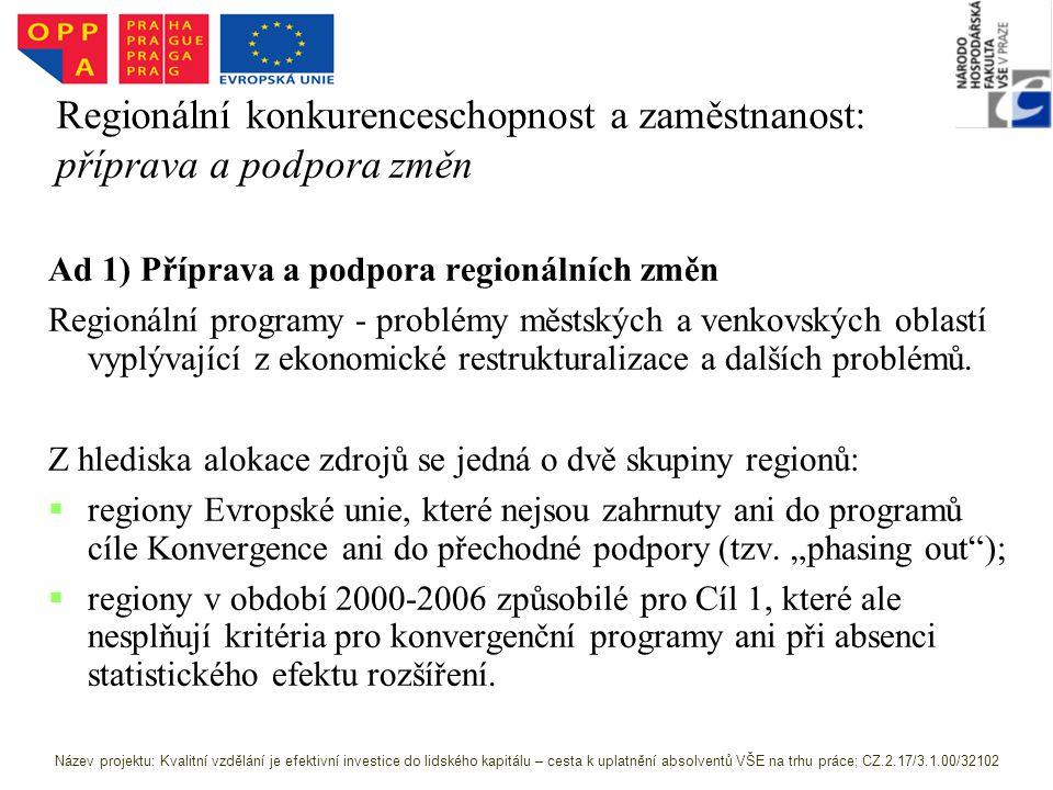 Regionální konkurenceschopnost a zaměstnanost: příprava a podpora změn Ad 1) Příprava a podpora regionálních změn Regionální programy - problémy městských a venkovských oblastí vyplývající z ekonomické restrukturalizace a dalších problémů.