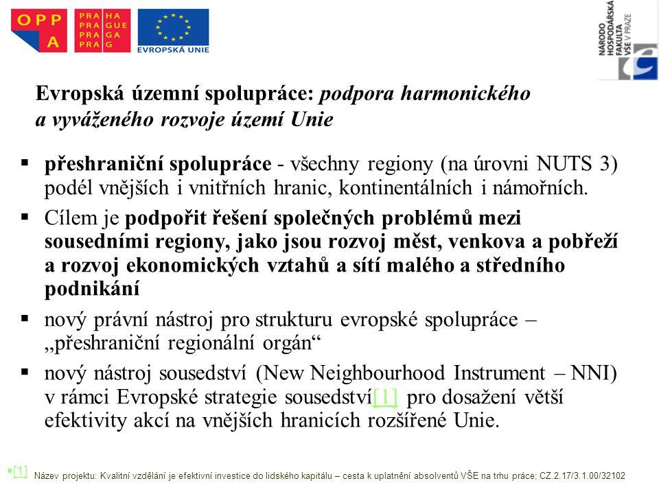 Evropská územní spolupráce: podpora harmonického a vyváženého rozvoje území Unie   přeshraniční spolupráce - všechny regiony (na úrovni NUTS 3) podél vnějších i vnitřních hranic, kontinentálních i námořních.