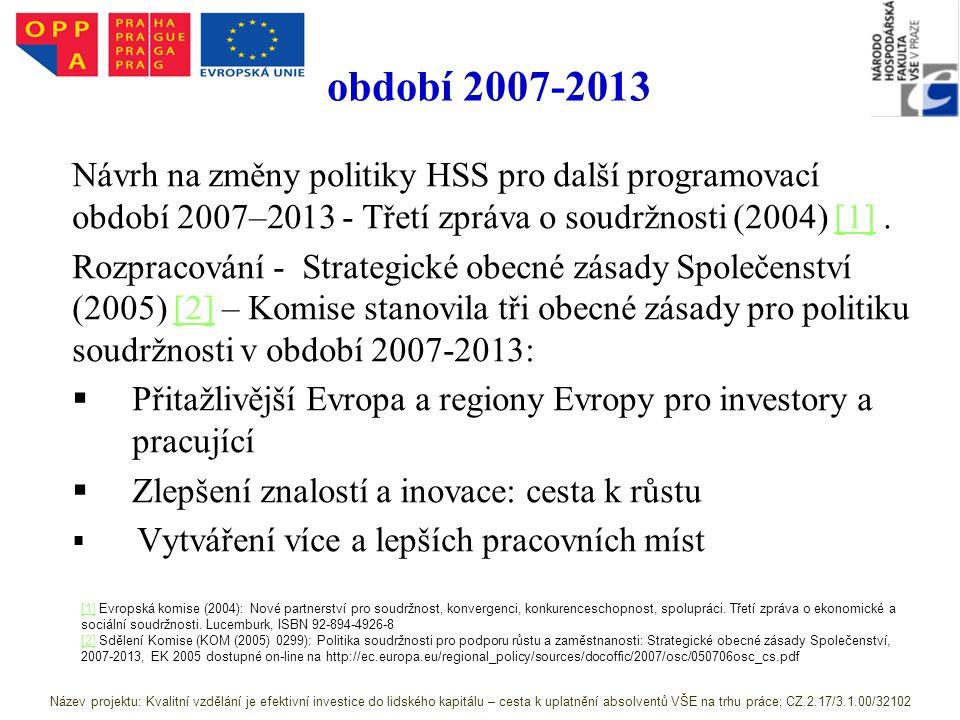 období 2007-2013 Návrh na změny politiky HSS pro další programovací období 2007–2013 - Třetí zpráva o soudržnosti (2004) [1].[1] Rozpracování - Strategické obecné zásady Společenství (2005) [2] – Komise stanovila tři obecné zásady pro politiku soudržnosti v období 2007-2013:[2]   Přitažlivější Evropa a regiony Evropy pro investory a pracující   Zlepšení znalostí a inovace: cesta k růstu   Vytváření více a lepších pracovních míst [1][1] Evropská komise (2004): Nové partnerství pro soudržnost, konvergenci, konkurenceschopnost, spolupráci.