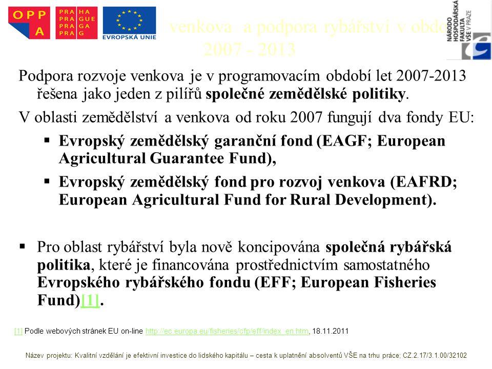 Podpora rozvoje venkova a podpora rybářství v období 2007 - 2013 Podpora rozvoje venkova je v programovacím období let 2007-2013 řešena jako jeden z pilířů společné zemědělské politiky.