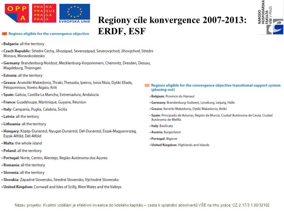 Regiony cíle konvergence 2007-2013: ERDF, ESF Zdroj: http://ec.europa.eu/regional_policy/sources/docoffi c/official/regulation/pdf/2007/publications/guide2 007_en.pdf Název projektu: Kvalitní vzdělání je efektivní investice do lidského kapitálu – cesta k uplatnění absolventů VŠE na trhu práce; CZ.2.17/3.1.00/32102