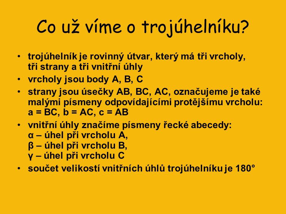 TROJÚHELNÍK Druhy trojúhelníků Dostupné z Metodického portálu www.rvp.cz, ISSN: 1802-4785, financovaného z ESF a státního rozpočtu ČR.