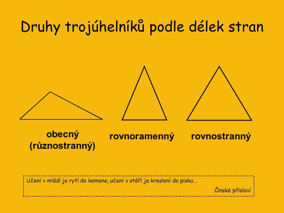 Co už víme o trojúhelníku? trojúhelník je rovinný útvar, který má tři vrcholy, tři strany a tři vnitřní úhly vrcholy jsou body A, B, C strany jsou úse
