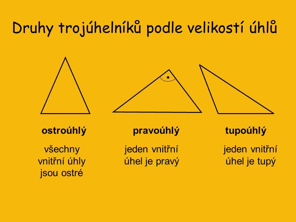 Druhy trojúhelníků podle velikostí úhlů ostroúhlýpravoúhlýtupoúhlý všechny vnitřní úhly jsou ostré jeden vnitřní úhel je pravý jeden vnitřní úhel je tupý