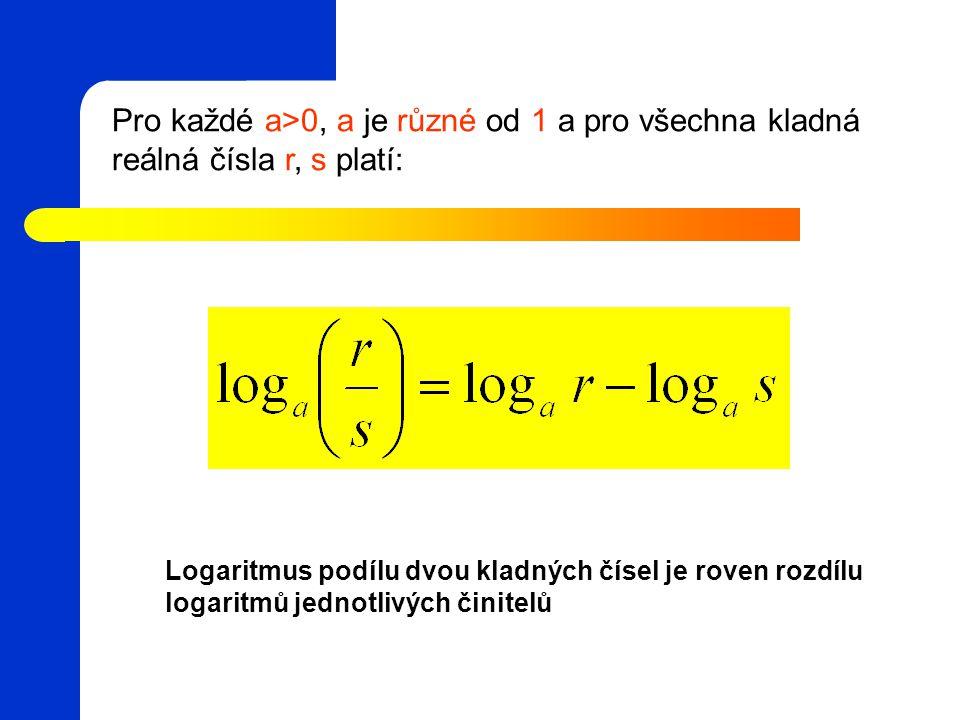 Pro každé a>0, a je různé od 1 a pro všechna kladná reálná čísla r, s platí: Logaritmus podílu dvou kladných čísel je roven rozdílu logaritmů jednotlivých činitelů