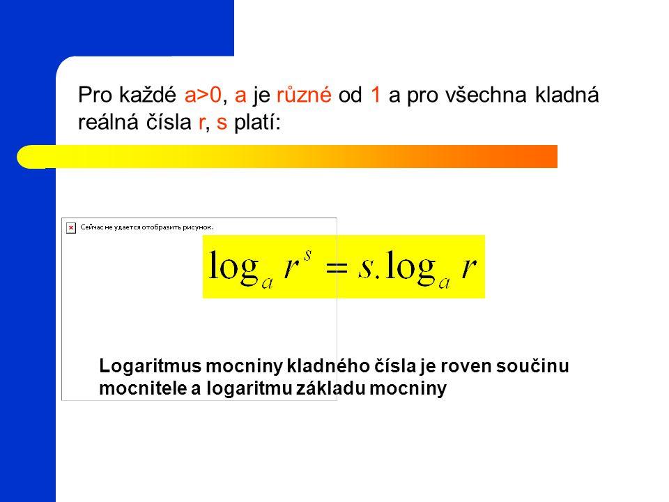 Pro každé a>0, a je různé od 1 a pro všechna kladná reálná čísla r, s platí: Logaritmus mocniny kladného čísla je roven součinu mocnitele a logaritmu základu mocniny