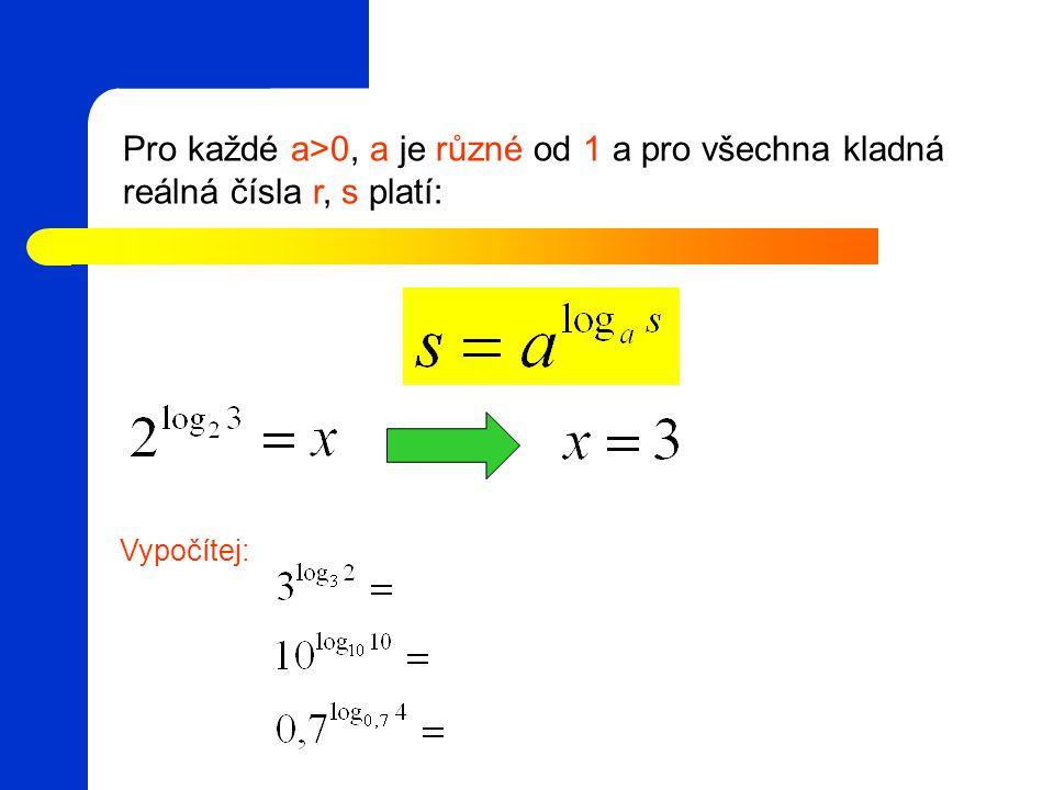 Pro každé a>0, a je různé od 1 a pro všechna kladná reálná čísla r, s platí: Vypočítej: