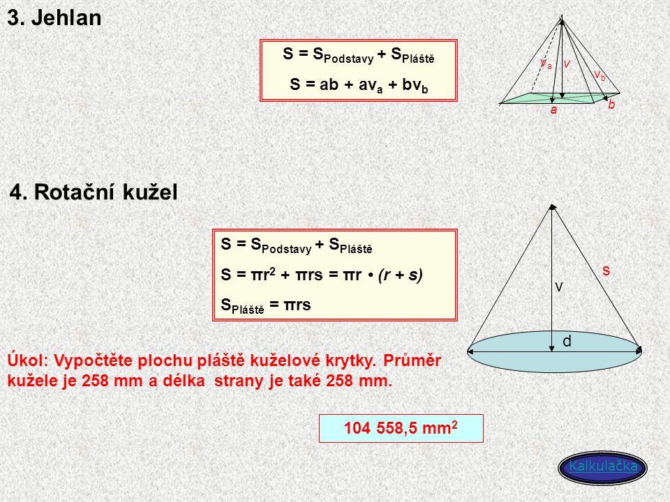 3. Jehlan a b v S = S Podstavy + S Pláště S = ab + av a + bv b vava vbvb d v 4. Rotační kužel S = S Podstavy + S Pláště S = πr 2 + πrs = πr (r + s) S