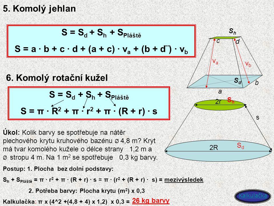 5. Komolý jehlan b c d SdSd ShSh a vava vbvb S = S d + S h + S Pláště S = a · b + c · d + (a + c) · v a + (b + d¨) · v b 6. Komolý rotační kužel 2R 2r