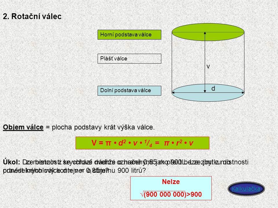 2. Rotační válec d v Horní podstava válce Dolní podstava válce Plášť válce Objem válce = plocha podstavy krát výška válce. V = π d 2 v 1 / 4 = π r 2 v