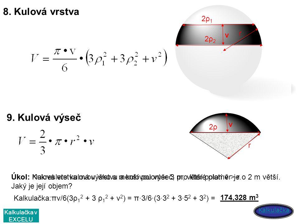 8. Kulová vrstva v r 2ρ12ρ1 2ρ22ρ2 v r 2ρ2ρ 9. Kulová výseč Úkol: Nakreslete kulovou vrstvu a kulovou výseč, pro které platí v > r.Úkol: Kulová vrstva