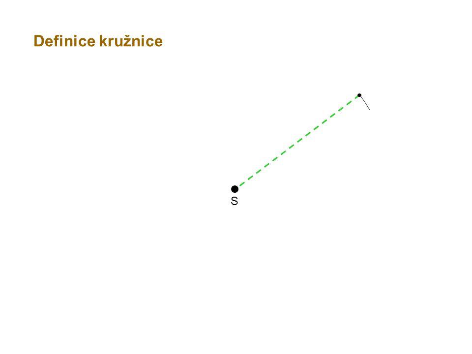 S r Kružnice je množina všech bodů v rovině, které mají od daného bodu S stejnou vzdálenost r.