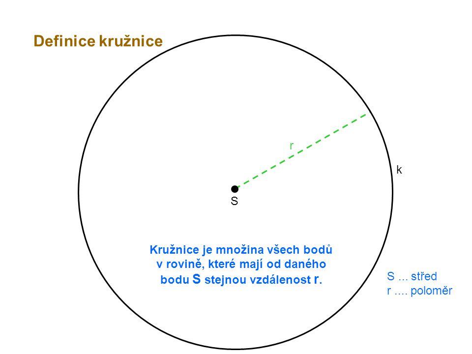 S r Kružnice je množina všech bodů v rovině, které mají od daného bodu S stejnou vzdálenost r. k S... střed r.... poloměr