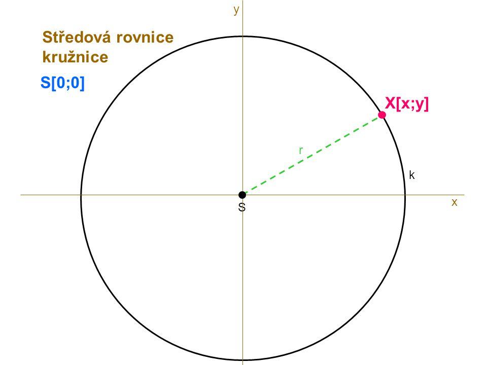 S r k x X[x;y] Středová rovnice kružnice y