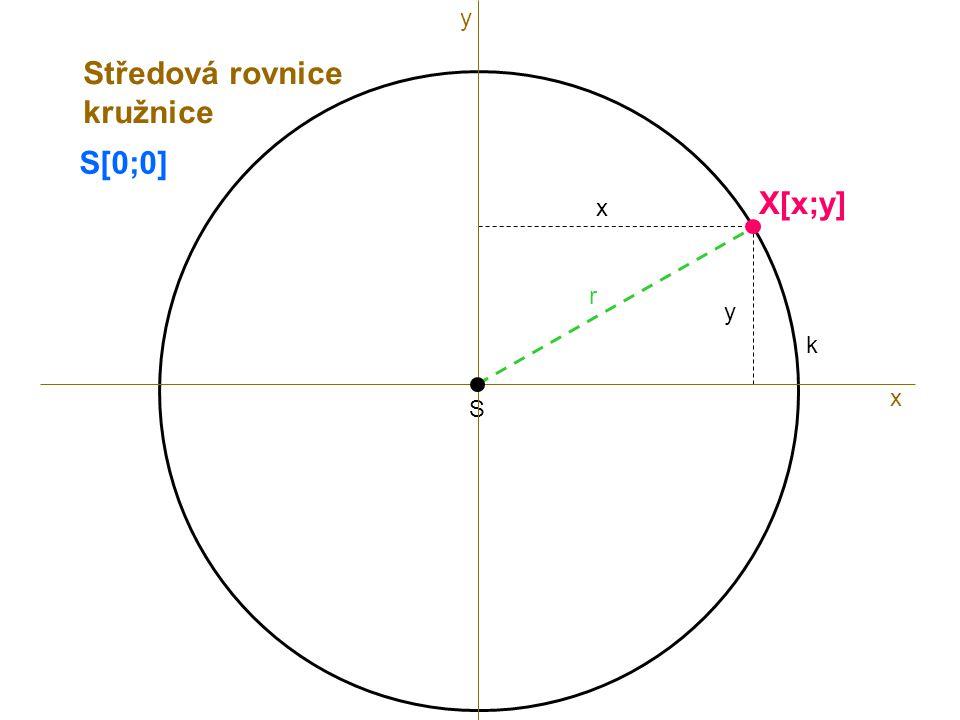 S r k S[0;0] x X[x;y] x y Středová rovnice kružnice y