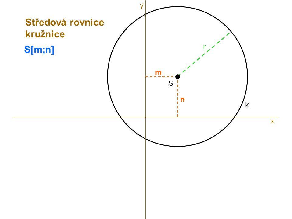 S r k S[m;n] x m n Středová rovnice kružnice y