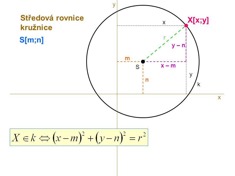 S r k S[m;n] x X[x;y] x y m n x – m y – n Středová rovnice kružnice y