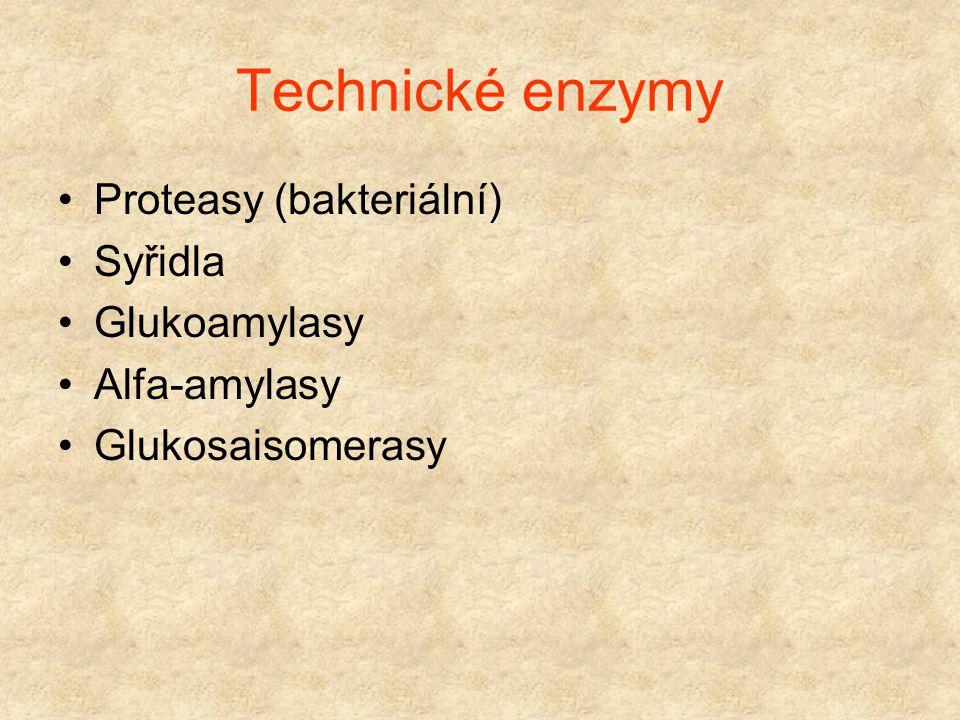 Enzymové technologie Použití isolovaných enzymů, enzymových komplexů a buněk Isolace enzymů Imobilizace enzymů, enzymových komplexů a buněk Enzymové p