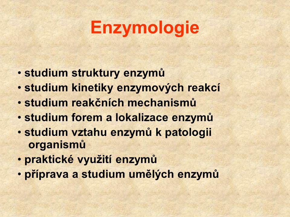 Enzymologie Nauka o biokatalýze a biokatalyzátorech