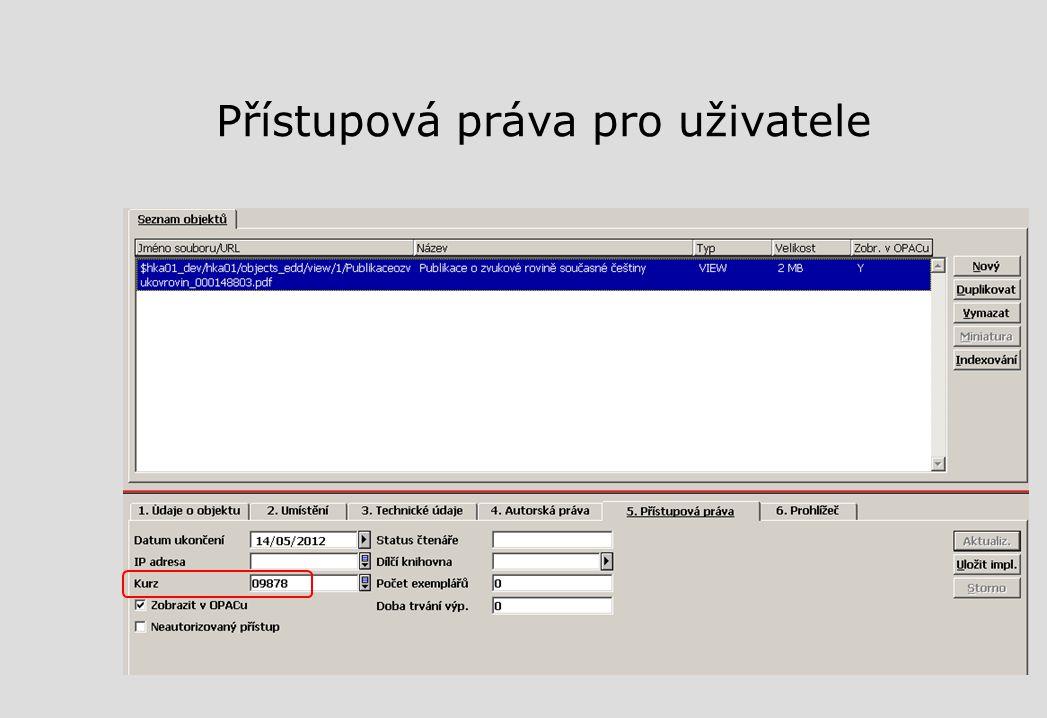 Přístupová práva pro uživatele
