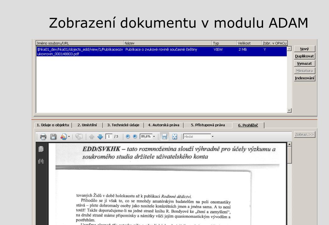 Zobrazení dokumentu v modulu ADAM