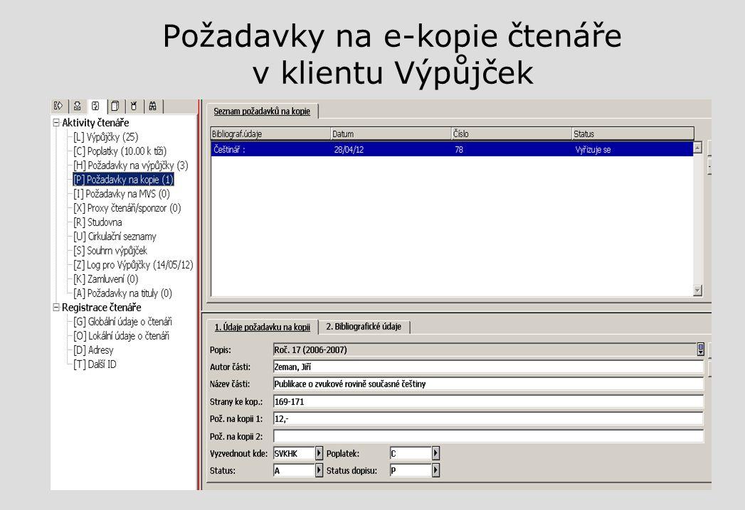 Požadavky na e-kopie čtenáře v klientu Výpůjček